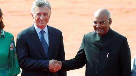 Los mandatarios Mauricio Macri y Ram Nath Kovind en Nueva Delhi, India. 18 de febrero del 2019.