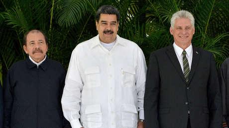 Ortega, Maduro y Díaz-Canel en la XVI Cumbre del ALBA, en La Habana, Cuba, 14 de diciembre de 2018.