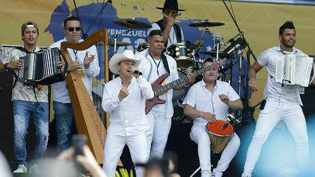 Cantante Geovanny Ayala durante el concierto 'Venezuela Aid Live' en Cúcuta, Colombia, el viernes 22 de febrero de 2019.