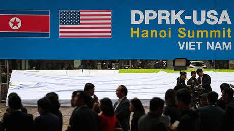 El centro de medios de la cumbre Corea del Norte-EE.UU. en Hanói.