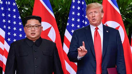 Donald Trump y Kim Jong-un en la cumbre presidencial en Singapur, el 12 de junio de 2018.
