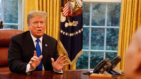 El presidente estadounidense, Donald Trump, en una reunión con el viceprimer ministro chino, Liu He, en el Despacho Oval de la Casa Blanca, Washington, EE.UU., el 22 de febrero de 2019.