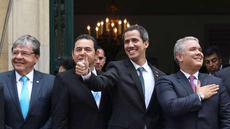 Guaidó reacciona después de la reunión del Grupo de Lima en Bogotá, Colombia, 25 de febrero de 2019.