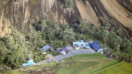 Casas destruidas por un deslave causado por un terremoto en Atsuma (Hokkaido) el 6 de septiembre de 2018.