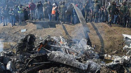 Helicóptero Mi-17 de la Fuerza Aérea india que se estrelló en el estado de Jammu y Cachemira el 27 de febrero de 2019.