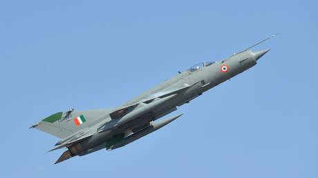 Un avión de combate MIG-21 de la Fuerza Aérea India.