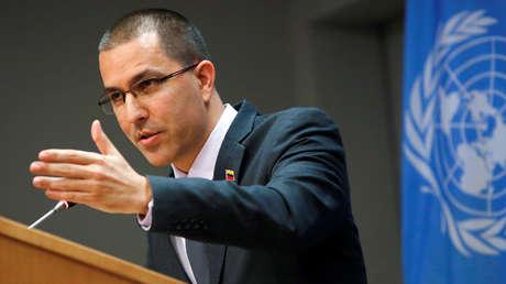 El ministro de Relaciones Exteriores de Venezuela, Jorge Arreaza, en la ONU, el 12 de febrero del 2019.