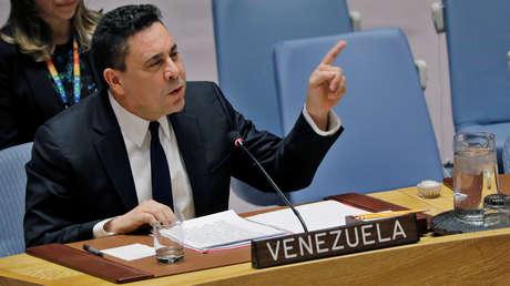 El embajador de Venezuela ante la ONU, Samuel Moncada, habla durante una reunión del Consejo de Seguridad. Nueva York, EE. UU., 28 de febrero de 2019.