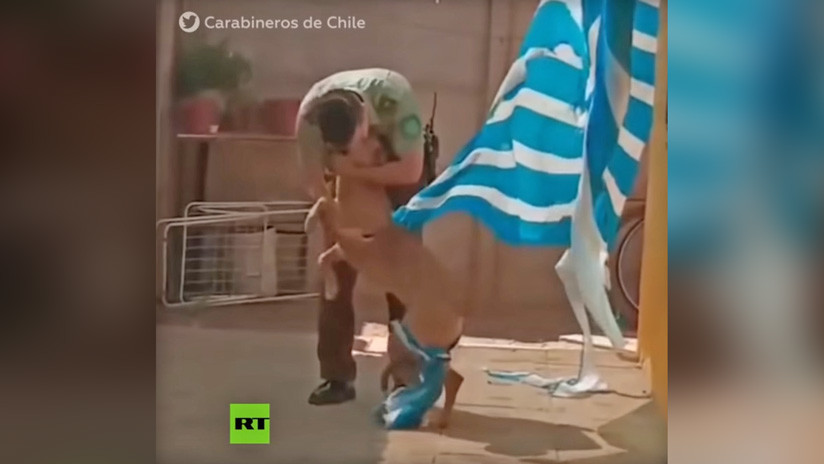 VIDEO: Un carabinero rescata a un perro enredado en una tela