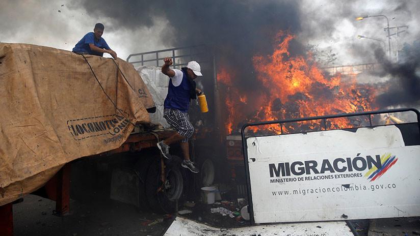 """The New York Times: El camión con """"ayuda humanitaria"""" no lo quemó el Gobierno de Maduro"""