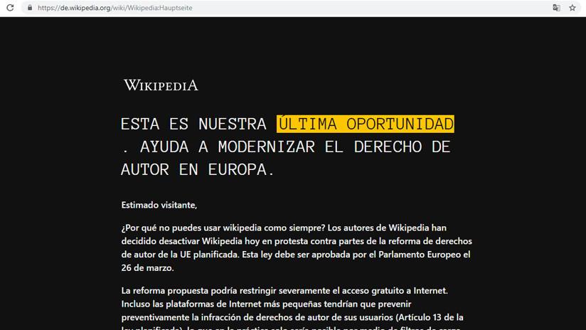 """""""Última oportunidad"""": Wikipedias europeas cierran durante 24 horas para protestar por la ley de 'copyright'"""