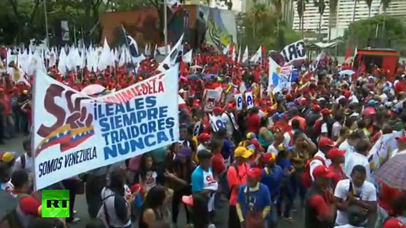 VIDEO: Venezolanos protestan contra la intervención de EE.UU.