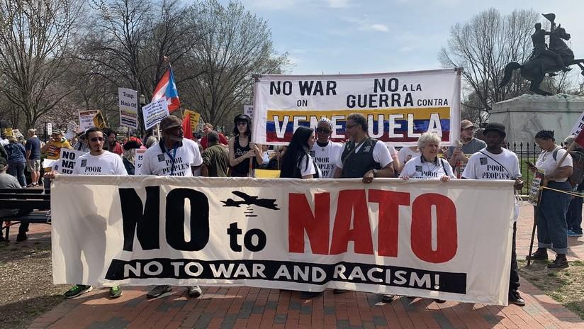 Protesta en Washington contra la OTAN y la interferencia de EE.UU. en Venezuela