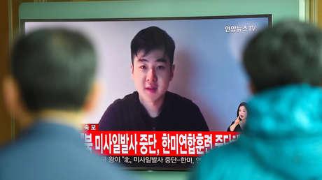 Un noticiero surcoreano muestra un video del hombre que dice ser Kim Han-sol, sobrino del líder de Corea del Norte. 8 de marzo de 2017.