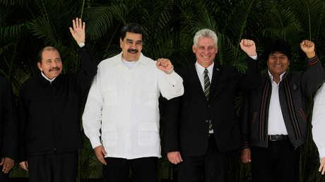 Daniel Ortega, Nicolás Maduro, Miguel Díaz-Canel y Evo Morales durante la XVI Cumbre de la ALBA-TCP en La Habana, 14 de diciembre de 2018