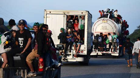 Migrantes centroamericanos en Oaxaca, México.