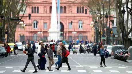 La Casa Rosada vista desde la Avenida de Mayo, Buenos Aires, Argentina, 12 de septiembre de 2018