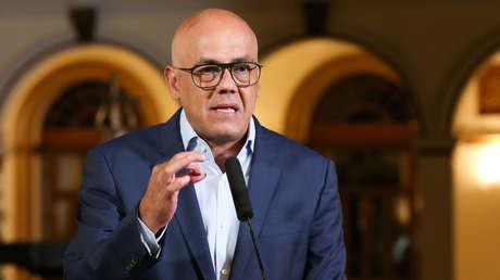Ministro de Comunicación, Jorge Rodríguez en el Palacio de Miraflores, en Caracas, Venezuela, el 8 de marzo de 2019.