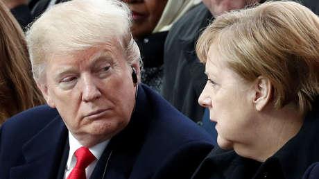 El presidente de EE.UU., Donald Trump, y la canciller de Alemania, Angela Merkel, 11 de noviembre de 2018