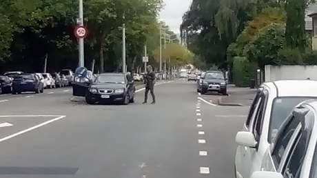 La Policía local cerca de la mezquita Masjid Al Noor de la ciudad de Christchurch (Nueva Zelanda), 15 de marzo de 2019.