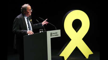 El presidente catalán, Quim Torra, en el Teatro Nacional de Cataluña, Barcelona, España, 4 de septiembre de 2018.
