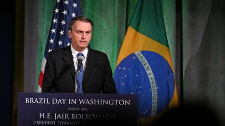 El presidente de Brasil, Jair Bolsonaro, durante un discurso en EE.UU.. 18 de marzo de 2019.