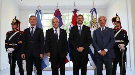 Mauricio Macri, Sebastián Piñera, Mario Abdo Benítez y Tabaré Vázquez, Buenos Aires, Argentina, 20 de marzo de 2019.