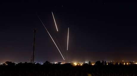 Misiles lanzados desde la Franja de Gaza hacia Israel el 25 de marzo de 2019.