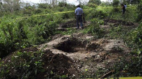 Un sitio de fosas comunes cerca del pueblo de Acayucan, estado de Veracruz, México, el 8 de febrero de 2012