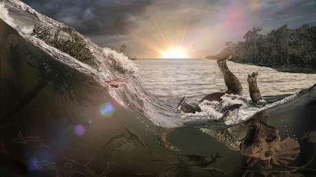 Representación artística de la muerte de un dinosaurio en el desastre de Chicxulub
