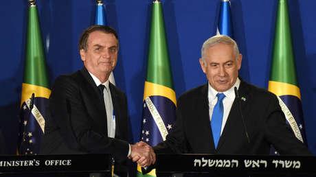 El presidente brasileño, Jair Bolsonaro, y el primer ministro israelí Benjamín Netanyahu en Jerusalén, el 31 de marzo de 2019.