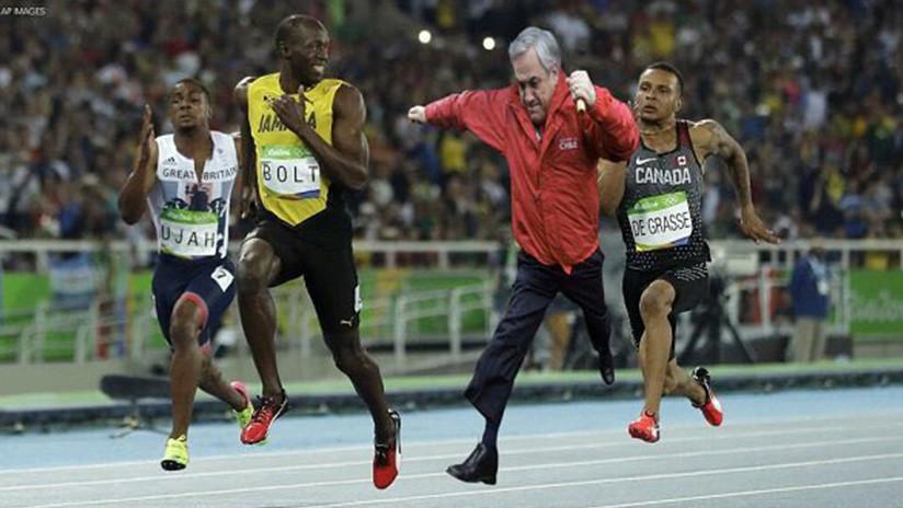 IMAGEN: Sebastián Piñera muestra un meme a Usain Bolt y este lo viraliza en Twitter