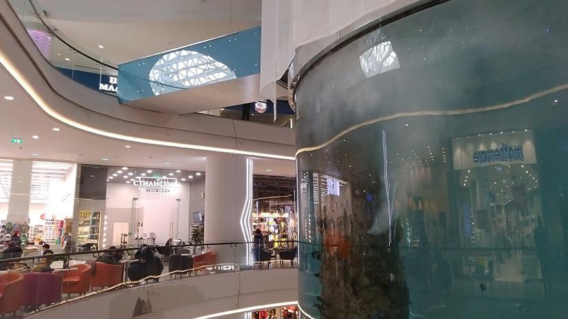 VIDEO: Uno de los acuarios cilíndricos más altos del mundo se rompe en un centro comercial de Moscú