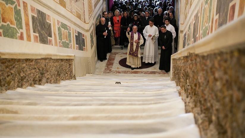 FOTOS: Por primera vez en 300 años muestran los mármoles de la 'Escalera Santa' por la que subió Jesus para ser juzgado