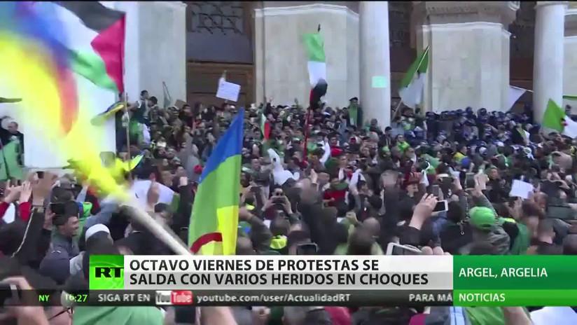 Viernes de protestas en Argelia se salda con decenas de heridos