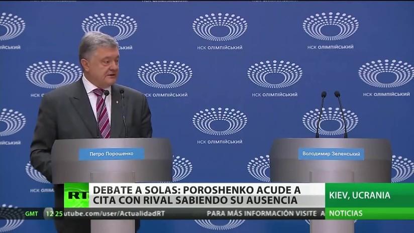 El presidente de Ucrania debate consigo mismo durante la campaña presidencial