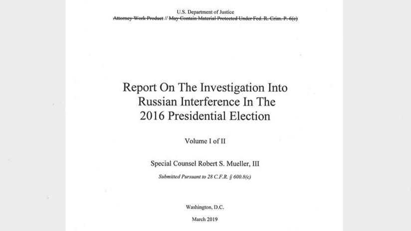 EE.UU.: Hacen público el informe de Mueller sobre la presunta trama rusa