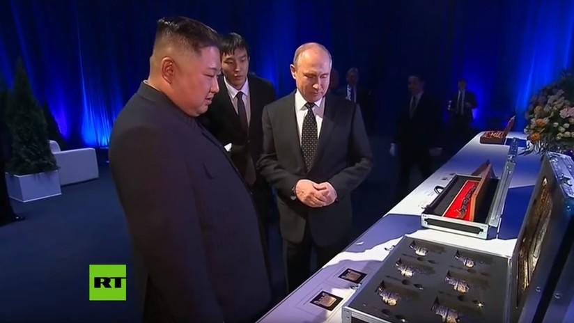 VIDEOS: Intercambio de inusuales regalos entre Vladímir Putin y Kim Jong-un tras la cumbre de Vladivostok