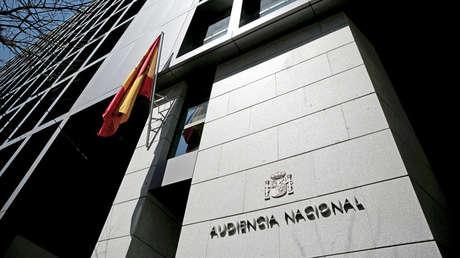 Entrada de la Audiencia Nacional en Madrid (España).