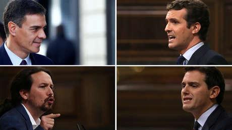 Pedro Sánchez (arriba izd.), Pablo Iglesias (abajo izd.), Pablo Casado (arriba der.) y Albert Rivera.