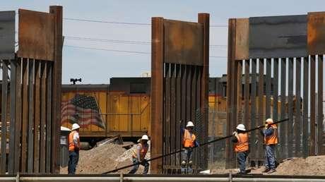 La construcción del muro en El Paso, Texas, el 9 de abril de 2019