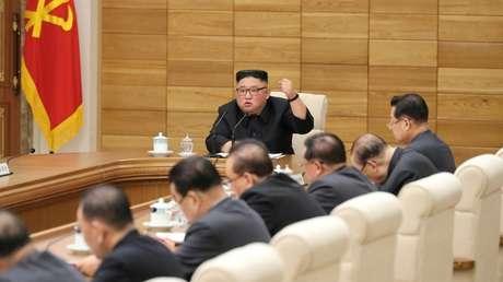 Kim Jong-un durante una reunión en Pionyang, Corea del Norte, el 9 de abril de 2019
