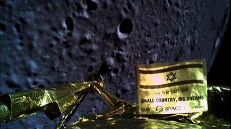 Una imagen tomada por la nave espacial israelí Beresheet antes de un intento de alunizaje, 11 de abril de 2019