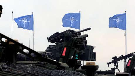Las banderas de la OTAN durante el último día de los ejercicios Saber Strike en Orzysz, Polonia.
