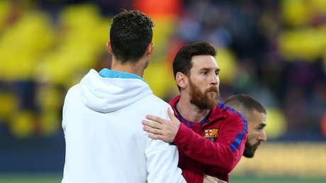 Cristiano Ronaldo y Lionel Messi, en el estadio Camp Nou de Barcelona, España, el 6 de mayo de 2018.