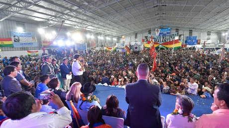 El presidente de Bolivia brinda un discurso en La Matanza, provincia de Buenos Aires, Argentina, el 21 de abril del 2019.