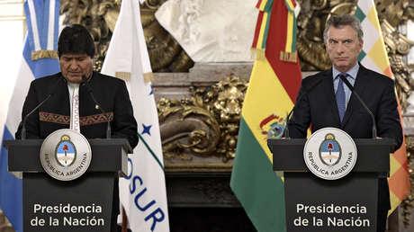 Evo Morales y Mauricio Macri dan una rueda de prensa en la Casa Rosa, Ciudad de Buenos Aires, el 22 de abril del 2019.