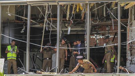 El lugar de la explosión en el hotel Shangri-La de Colombo, 21 de abril de 2019.