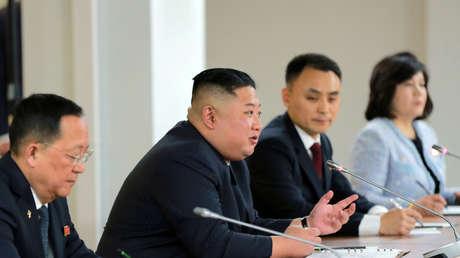 Kim Jong-un en la reunión con Vladímir Putin en Vladivostok, 25 de abril de 2019.