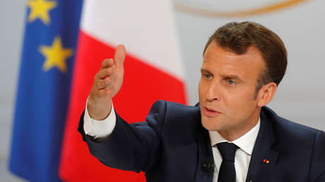 El presidente francés, Emmanuel Macron, en una rueda de prensa en París el 25 de abril de 2019.